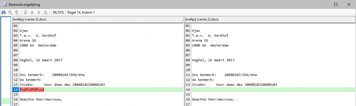 Schematische weergave documentvergelijking in CCdms